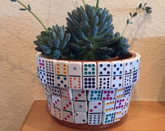 Domino theme clay Indoor Planting Pot. Gift for Fathers day? Man-Cave?