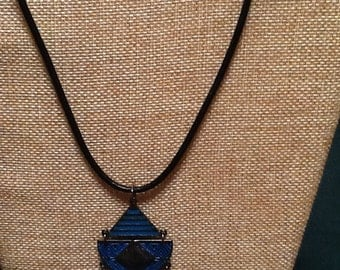 Jewelry, Silver and turquoise pendant, Leather Cord
