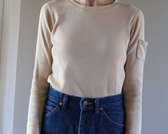 90s Light Tan Ribbed Cotton Long-Sleeve Top With Arm Pocket- Size Small