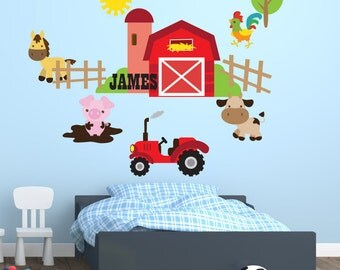 Farm theme bedroom wall decal. Personalized wall sticker for farm theme room. Customized bedroom decor. Tractor wall vinyl. Barnyard room