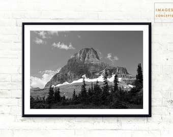 Glacier National Park ~ Landscape Photography Print ~ Black and White ~ Modern Home Decor ~ Printable Art ~ Digital Download ~ Digital Print