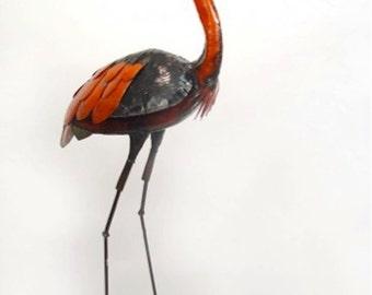 Bird Sculpture - Recycled Metal Standing Heron