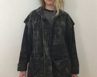 Reserved for Dieter Wright - Genderless Vintage Black Acid Washed Army Style Jacket with Buddha Designs