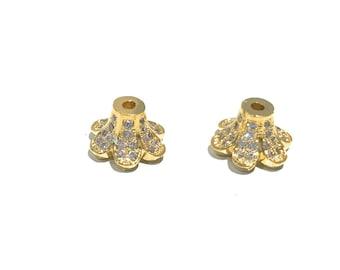 Gold Pave Bead Caps, Pave Bead Caps, Bead Caps, Jewelry Findings, CZ Micro Pave Bead Caps, DIY Jewelry, CZ Bead Caps, Flower Bead Caps