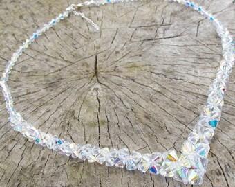 Swarovski Crystal V Necklace, Crystal Wedding Necklace, Special Day Necklace, Swarovski Bridal Necklace. Clear AB Necklace, Bridal Crystal