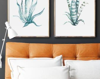 Succulent Plants Painting, Set of 2 Green Succulent Prints, Green Leafs, Aloe Vera Sansevieria Giclee Painting, Scandinavian Wall Art