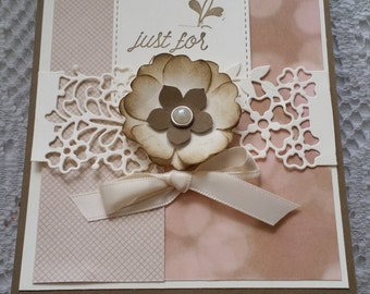 "Beautiful delicate  ""Just For You"" greeting card Blank inside"