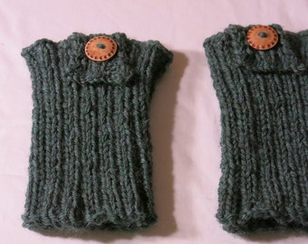 Hand-knitted women's boot cuffs.