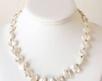 Freshwater Pearl Necklace with Artisan Sterling Silver Clasp