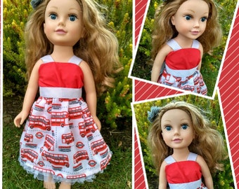 Handmade Doll dress ~ 18 inch Doll London dress ~ Our generation  clothes ~ Handmade Doll clothes ~ American Girl dress ~ London bus
