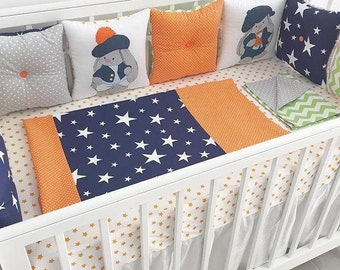 Crib bumper with a classic pillows and sweet art!