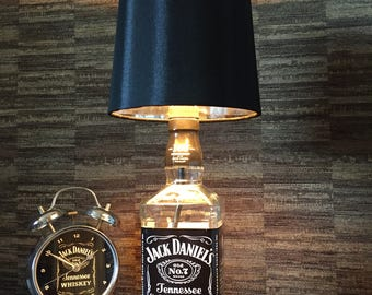 Jack Daniels Whisky Bottle Lamp With Black Silver lined Shade Upcycled 70cl