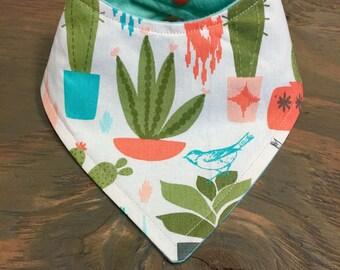 Baby Bandana Bib, Cool 2 Drool Bib, Baby / Toddler Bandana Bib, Drool Bib, Fashion Bibdana, Plants, Succulents, Aztec, Cactus, Birds
