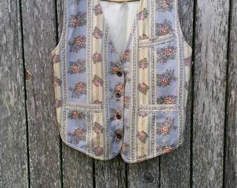 Vintage Floral Vest / Small - Medium