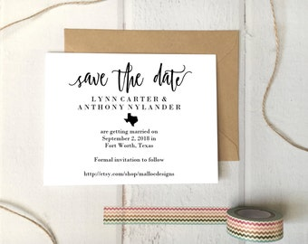 Texas Wedding Save The Date Printable Postcard Template / Instant Download / Destination Wedding State Icon Print At Home Card