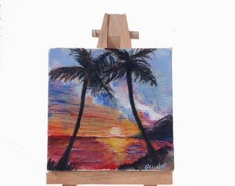 Mini art Sunshine in the paradise, handmade painting, original beach painting, unique gift, home decoration, office decoration, small canvas