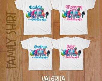 4 Trolls shirt, Birthday family  shirt, Trolls birthday shirt, trolls party, Trolls iron on transfer, family shirts, Trolls iron on,