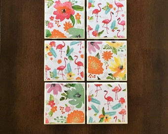 Set of 6 Flamingo and Flowers Coasters