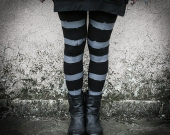 HAIIRO - Stripes Leggings Post Punk Industrial Black and Grey Lines Post Apocalyptic Nomad Warriors Alternative Clothing