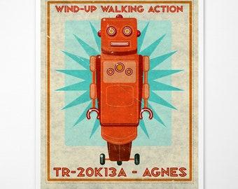 "Retro Robot Art Print- Agnes Box Art Robot Decor 8"" x 10"" Science Fiction Art for Kids Rooms or Robot Nursery Decor- Kid Bedroom"