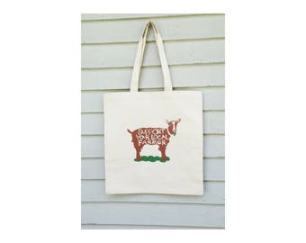 Canvas tote bag Support your local farmer hand drawn typography brown goat