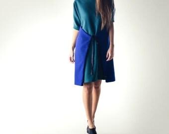 Sweater dress, Tunic dress, Wool tunic, Wrap dress, Teal dress, Blue dress, Plus size dress, Long sleeve dress, Wool dress, Womens dress