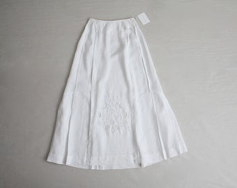 edwardian linen skirt | white linen skirt | 1910s antique skirt