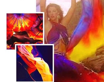 Handdyed silk ombré fabric for fashion designers crafter photographers also can be used as bellydance silk veil