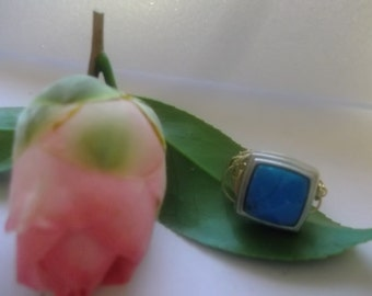 Sale Turquoise Look Blue Square Cut Silver Copper Gold Wire Wrapped Ring Size 6 and a Half Handmade Friend Coworker Gift for Her