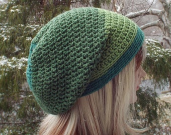 Shades of Green Slouchy Beanie, Womens Crochet Hat, Boho Slouchy Hat, Slouch Beanie, Oversized Hipster Hat, Slouch Hat, Baggy Beanie