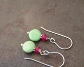 Sale- Hot Pink Jade and Howlite Earrings