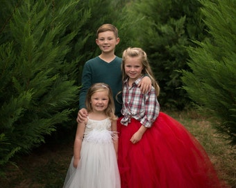 Red Tulle Skirt - Sewn Scarlet Red Tutu Skirt -  in your choice of size and length - Flower girl, special occasion, bridal party - Crimson