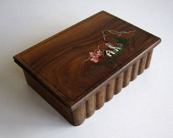 Wooden box with painted lid / Sorrento, vintage art deco, antique desk storage or book-shaped jewellery box