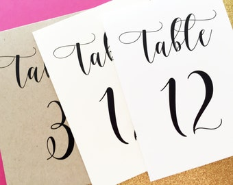 Sophie Tented Table Numbers, Table Number Signs, Wedding Table Numbers, Reception Table Numbers, Table Number Tents