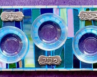 Mosaic Seder Plate, Passover Mosaic Plate,Passover Plate, Pesach Plate Judaica,Passover Tray, Passover Judaica Art, Mosaic Art, Jewish Gifts