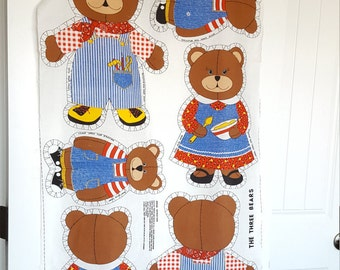 The Three Bears Vintage Fabric Panel 24.5x44 Inches