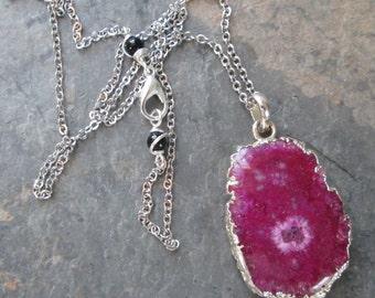 Pink Solar Quartz & Silver Necklace ~ Solar Quartz Pendant on Silver Chain ~ Layering/Minimalist Jewelry