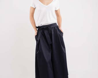 Skirt pants | Blue pants | Loose pants | LeMuse skirt pants