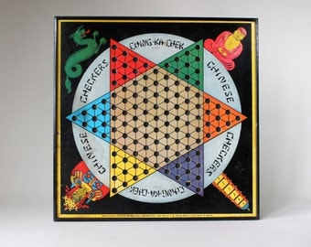 Vintage 1938 Chinese Checkers Game Board Colorful Asian Wall Decor Black Metal Frame Ching Ca Check