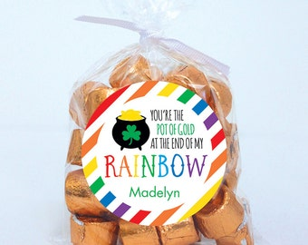 St. Patrick's Day Stickers - You're the Pot of Gold at the End of My Rainbow - Sheet of 12 or 24