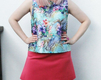 Digital flower print satin loose vest top colourful o.o.a.k handmade original unique bold comfy size L U.K 14-16