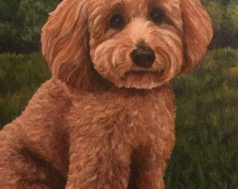 "12"" x 16"" Custom Pet Portrait Oil Painting"