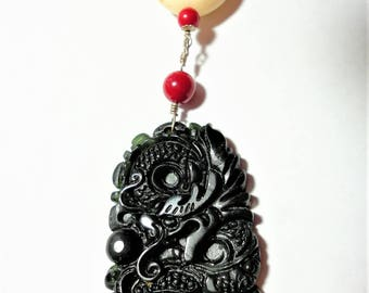 Black Jade Water Dragon Necklace Year of the Dragon Carved Black Dragon Amulet Black Green Jade Dragon w Black Onyx Red Coral and Sterling