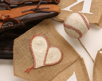 Thank You Banner, Burlap, Wedding Photo Prop, Real Baseball, Sports, Baseball Theme, Gift for Guy, Coaches Gift, Wedding Decoration, MLB.