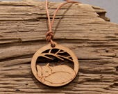 Sleeping Fox Pendant - Sleeping Fox Necklace - Wood Pendant - Wood Necklace