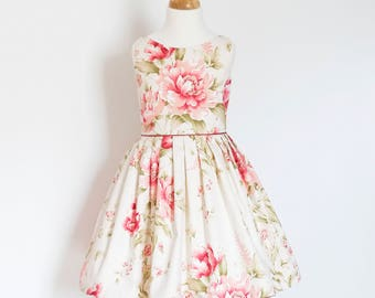 Flower Girl Dress - Cotton - Pink Flowers - Pleated Skirt - Vintage Style - Fifties - Made By Dig For Victory!