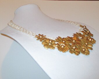 Hollywood Glam Bib Necklace, Gold Flowers Crochet Bib Necklace