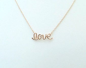 Love Necklace Script Love Word Necklace Lucky Charm Necklace Everyday Necklace Birthday Gift Bridesmaids Gift Minimalist