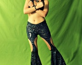 "Belly Dance costume, Tribal fusion costume, two pieces costume with flare pants and halter top - ""MODERN FUSION"""