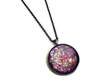 Sparkly Large Purple Pendant,  Large Round Necklace,  Statement Pendant, Glitter Necklace, Nail Polish Jewelry